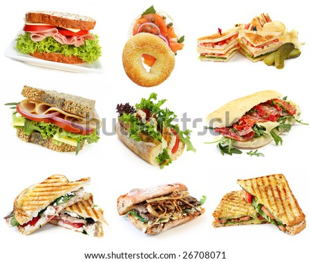 Collection of sandwiches, isolated on white. - stock photo