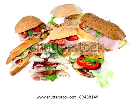 collection of sandwiches on white background - stock photo