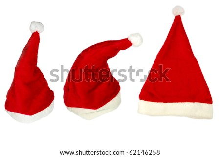 COllection of Santas hats isolated on white background - stock photo