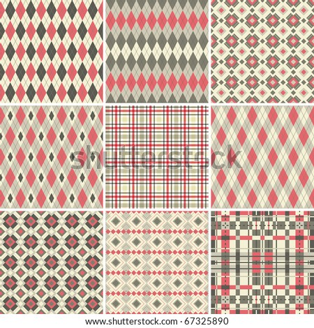 Collection of seamless argyle and plaid patterns in pastel colors - stock photo