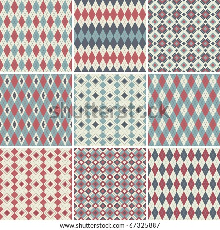 Collection of seamless argyle patterns - stock photo