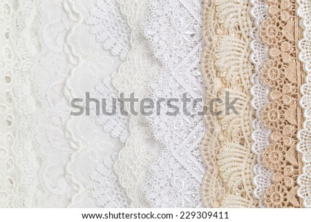 Collection of seamless lace cloth background and texture - stock photo