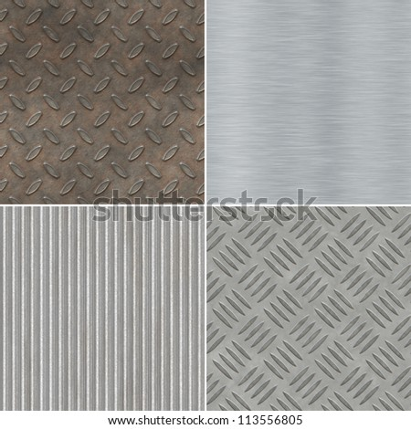 Collection of seamless metal textures - stock photo