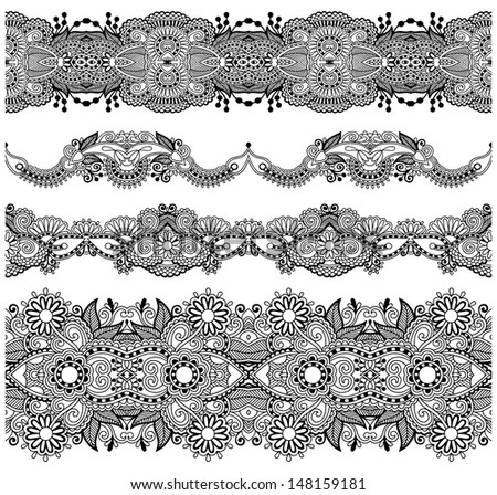 collection of seamless ornamental floral stripes, black and white collection, raster version - stock photo