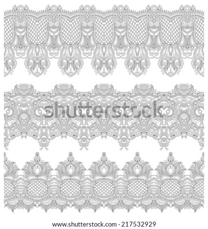collection of seamless ornamental floral stripes, black and white collection, raster version