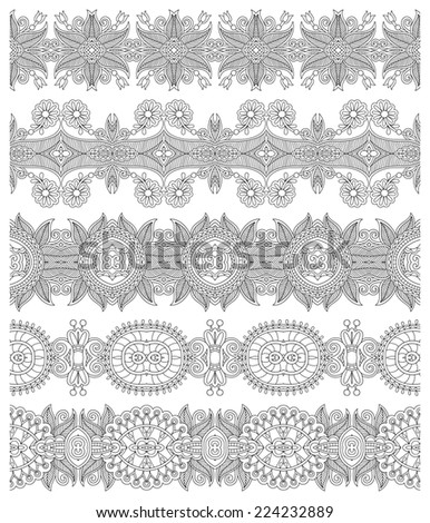 collection of seamless ornamental floral stripes, black and white collection. Raster version
