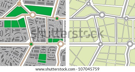 Collection of seamless patterns - city map. Rasterized version of vector illustration - stock photo