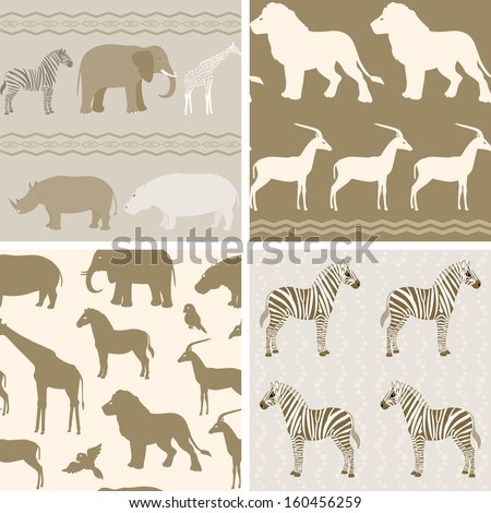 Collection of seamless patterns with african animals. Raster version. - stock photo