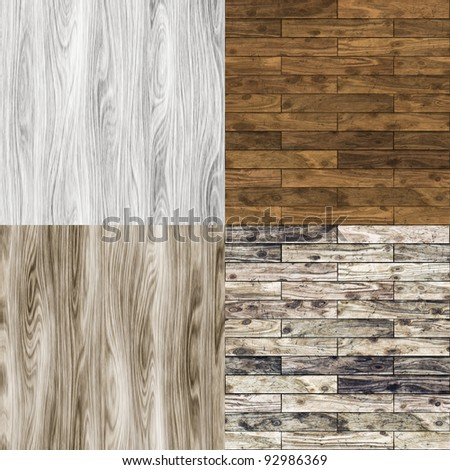 Collection of seamless wood textures - stock photo