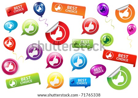 Collection Of Selling Badges, Isolated On White Background