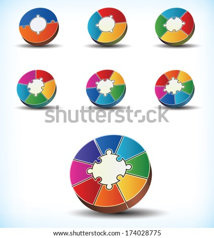 Collection of seven different statistical wheel charts with component divisions numbering between two and eight - raster version of vector illustration - stock photo