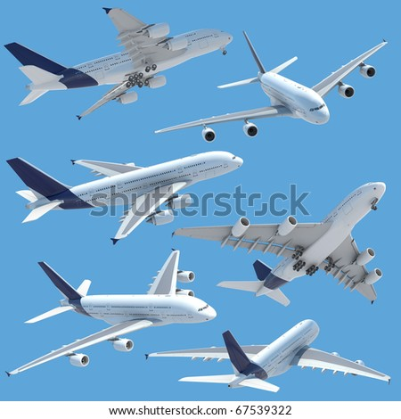 collection of several views of airplane airbus a 380 isolated on solid color and with clipping path. - stock photo