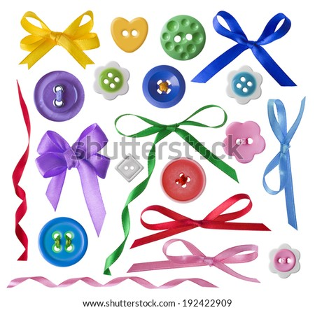 Collection of sewing buttons set and gift bows with ribbons - stock photo