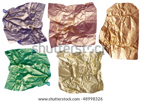 collection of shiny wrinkled papers - stock photo