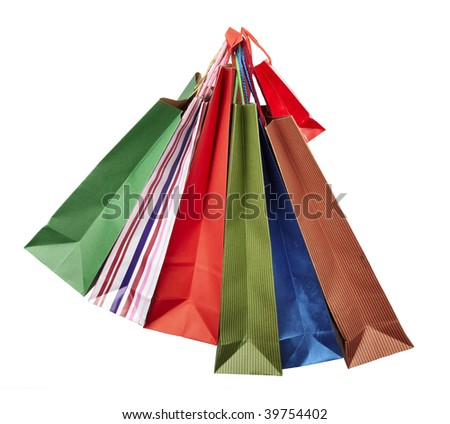 collection of shopping bags hanging on white background with clipping path - stock photo