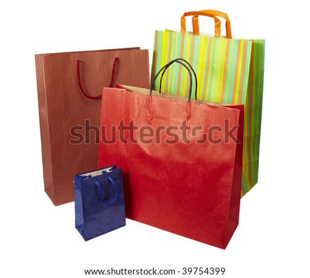collection of shopping bags on white background with clipping path - stock photo