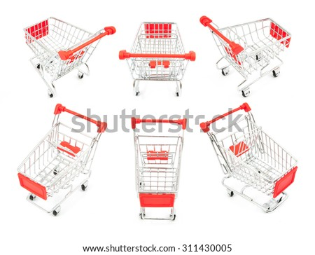 collection of shopping cart isolated on white - stock photo