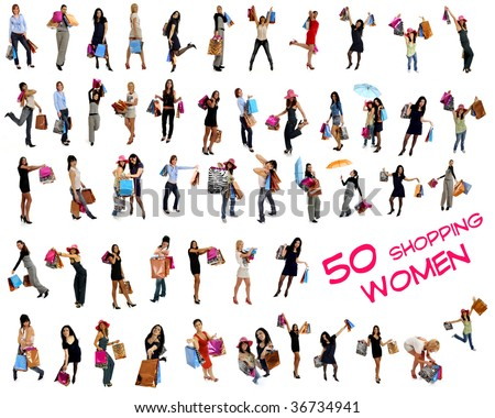 Collection of 50 shopping women going shopping with lots of colorful shopping bags. Isolated on white background. - stock photo