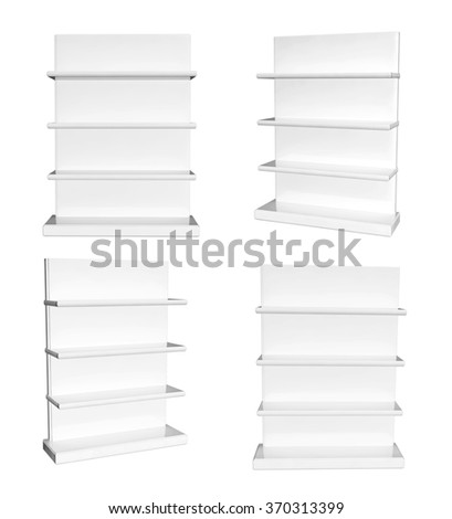 Collection of showcases. View from different angles. Objects isolated on white background