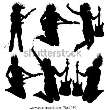 Collection of 6 silhouettes of a girl playing an electrical guitar - stock photo