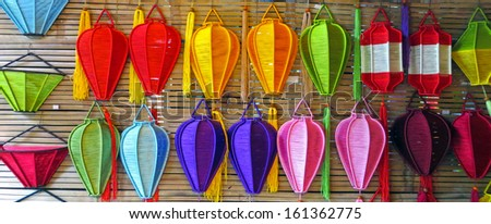 Collection of silk lanterns in Hoi An, Vietnam  - stock photo