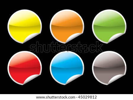 Collection of six circular icon with the corner curled - stock photo
