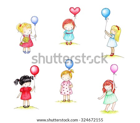 collection of six drawings of cute little girls with balloons  - stock photo
