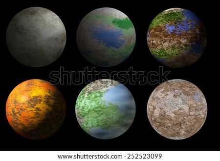Collection of six fantasy alien planets. Sci-fi deep space planet ready for universe illustration - stock photo