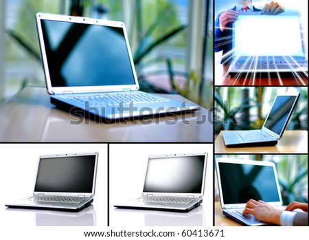 Collection of six laptops - stock photo