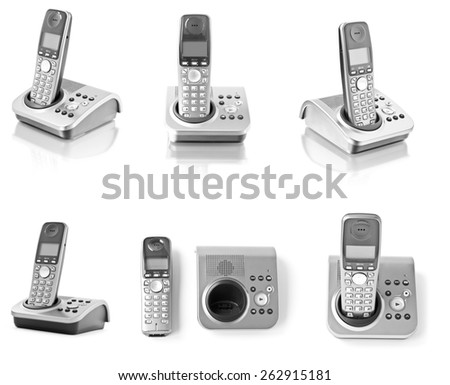 Collection of six office phones isolated on white - stock photo