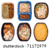 Collection of Six TV Dinners Isolated on White. - stock photo
