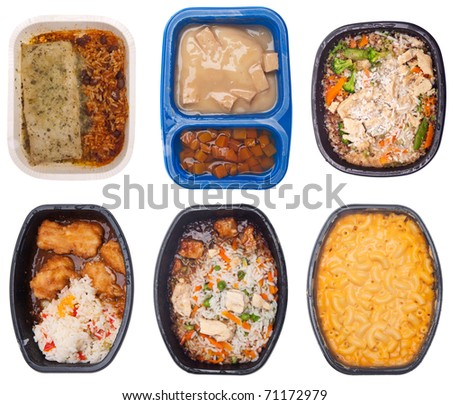 Collection of Six TV Dinners Isolated on White.