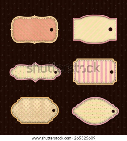 Collection of six vintage pastel tags - stock photo