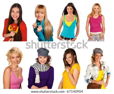 collection of smiling teen girls studio portraits in fashion clothes and perfect make up - stock photo
