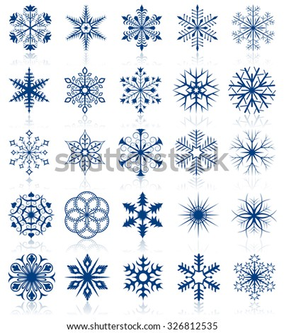 Collection of snowflake shapes isolated on white background. - stock photo