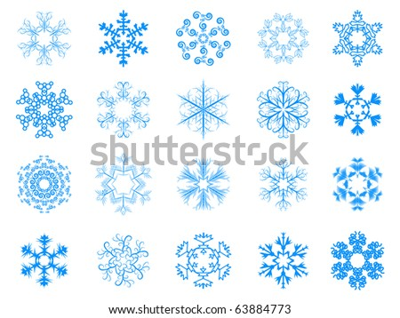 Collection of snowflakes for your design - stock photo