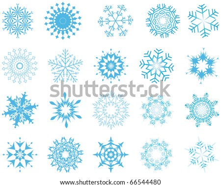 Collection of snowflakes in different shape - stock photo