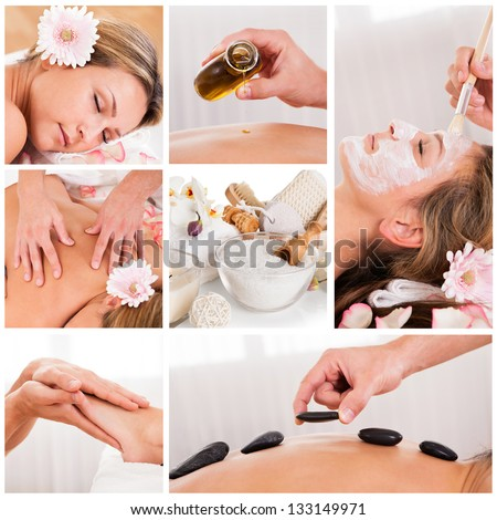 Collection of spa images from spa salon - stock photo