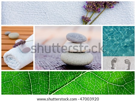 Collection of spa related items forming a set of tranquil scene - stock photo