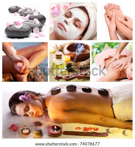 Collection of spa treatments and massages. - stock photo