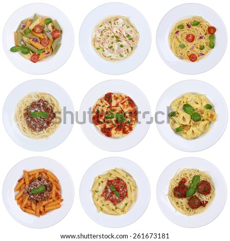 Collection of spaghetti, Ravioli noodles pasta meal isolated on a plate from above - stock photo