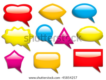 Collection of speech bubbles in primary colors and light reflection