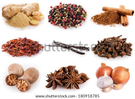 collection of spices isolated on white background - stock photo