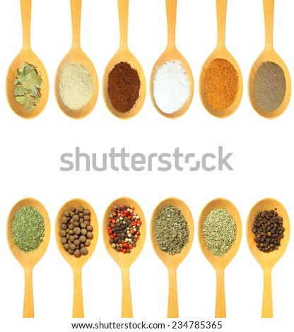 Collection of 12 spices on a wooden spoon. isolated on a white background
