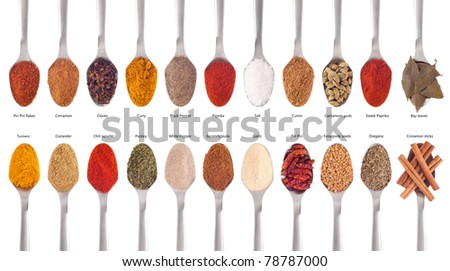 collection of 22 spices on spoons (cumin, coriander, curry, paprika, chili, piri piri, cinnamon, fenugreek, cardamom, oregano, parsley, garlic, salt, cloves, garam masala, bay) isolated on white - stock photo