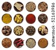 Collection of spices. Star anise, bay leaves, coriander seeds, cinnamon bark, curry powder, turmeric fingers, paprika, peppercorns, black cardamom pods, cardamom seeds, cloves, ginger root, chili fla - stock photo