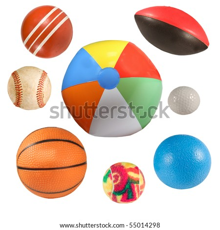 collection of sports balls isolated over white background - stock photo