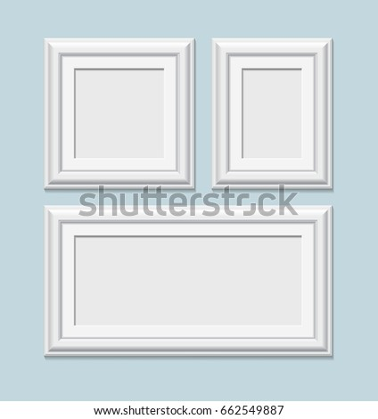 Collection Square White Photo Frames Realistic Stock Illustration ...