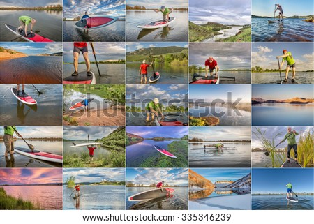 collection of stand up paddling (SUP) pictures from lakes in northern Colorado featuring  the same 60 years old male paddler - stock photo