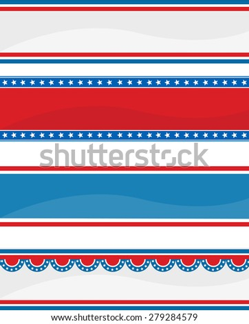 Collection of stars ans stripes USA  4 th of July web header / banners on white - stock photo